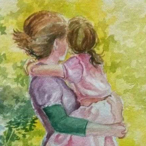 mother & daughter, 18 x 26 inch, venkatesh krishna,18x26inch,handmade paper,figurative paintings,paintings for living room,paintings for bedroom,paintings for kids room,paintings for hospital,paintings for living room,paintings for bedroom,paintings for kids room,paintings for hospital,watercolor,GAL01336532914