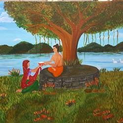 sujata's offering , 36 x 24 inch, sheetal chaudhary,36x24inch,canvas board,paintings,buddha paintings,figurative paintings,religious paintings,paintings for dining room,paintings for living room,paintings for bedroom,paintings for office,paintings for kids room,paintings for hotel,paintings for kitchen,paintings for school,paintings for hospital,acrylic color,GAL01560332921