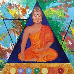 buddha and 7 chakras, 36 x 24 inch, sheetal chaudhary,36x24inch,canvas board,paintings,abstract paintings,buddha paintings,figurative paintings,religious paintings,paintings for dining room,paintings for living room,paintings for bedroom,paintings for office,paintings for kids room,paintings for hotel,paintings for kitchen,paintings for school,paintings for hospital,acrylic color,GAL01560332924