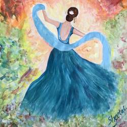 dancing girl, 12 x 16 inch, sheetal chaudhary,12x16inch,ivory sheet,paintings,abstract paintings,figurative paintings,abstract expressionism paintings,paintings for dining room,paintings for living room,paintings for bedroom,paintings for office,paintings for kids room,paintings for hotel,paintings for kitchen,paintings for school,paintings for hospital,acrylic color,GAL01560332927