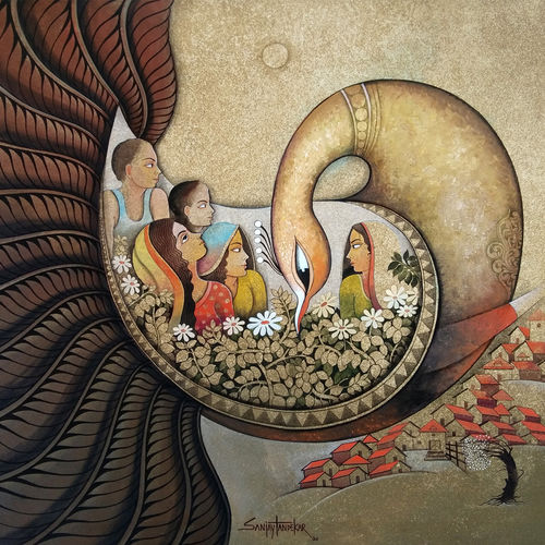 affection 17, 43 x 40 inch, sanjay  tandekar ,43x40inch,canvas,paintings,contemporary paintings,paintings for living room,paintings for bedroom,paintings for office,paintings for hotel,acrylic color,GAL0281032929