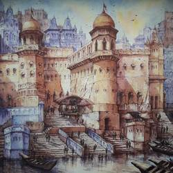 the beauty of varanasi-3, 22 x 22 inch, shubhashis mandal,22x22inch,handmade paper,paintings,cityscape paintings,paintings for dining room,paintings for living room,paintings for bedroom,paintings for office,paintings for hotel,watercolor,paper,GAL02057432936