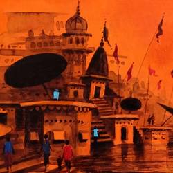 varanasi ghat - 14, 11 x 5 inch, girish chandra vidyaratna,landscape paintings,paintings for bedroom,paintings,paintings for dining room,paintings for living room,paintings for office,paintings for hotel,paintings for kitchen,paper,acrylic color,11x5inch,GAL0363294