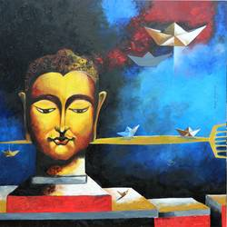 gen next-1, 48 x 48 inch, rajeev sarkar,48x48inch,canvas,paintings,buddha paintings,oil color,GAL02046732943