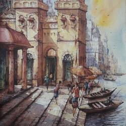 varanasi series-5, 15 x 22 inch, shubhashis mandal,15x22inch,handmade paper,paintings,cityscape paintings,paintings for dining room,paintings for living room,paintings for bedroom,paintings for office,paintings for hotel,watercolor,paper,GAL02057432944
