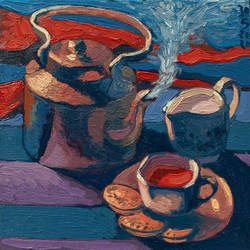 tea pot, 18 x 18 inch, shardul kulkarni,18x18inch,canvas,paintings,modern art paintings,conceptual paintings,still life paintings,expressionism paintings,impressionist paintings,pop art paintings,surrealism paintings,paintings for dining room,paintings for living room,paintings for bedroom,paintings for office,paintings for hotel,paintings for kitchen,paintings for hospital,oil color,GAL02084532945