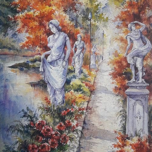 flowers garden-1, 15 x 22 inch, shubhashis mandal,15x22inch,handmade paper,paintings,landscape paintings,paintings for dining room,paintings for living room,paintings for bedroom,paintings for office,paintings for hotel,watercolor,paper,GAL02057432946