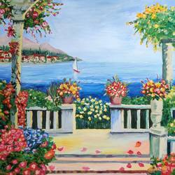 lakeside stroll, 30 x 24 inch, padmini abrol,30x24inch,canvas,paintings,cityscape paintings,landscape paintings,still life paintings,nature paintings | scenery paintings,illustration paintings,realistic paintings,paintings for dining room,paintings for living room,paintings for bedroom,paintings for office,paintings for bathroom,paintings for kids room,paintings for hotel,paintings for kitchen,paintings for school,paintings for hospital,oil color,GAL0314932953