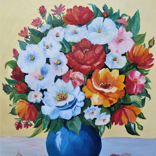 beautiful flower pot, 18 x 22 inch, padmini abrol,18x22inch,canvas,paintings,abstract paintings,flower paintings,modern art paintings,multi piece paintings,still life paintings,portrait paintings,nature paintings | scenery paintings,illustration paintings,paintings for dining room,paintings for living room,paintings for bedroom,paintings for office,paintings for bathroom,paintings for kids room,paintings for hotel,paintings for kitchen,paintings for school,paintings for hospital,oil color,GAL0314932954