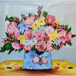 big and abundant flower pot, 36 x 26 inch, padmini abrol,36x26inch,canvas,paintings,abstract paintings,flower paintings,multi piece paintings,conceptual paintings,still life paintings,paintings for dining room,paintings for living room,paintings for bedroom,paintings for office,paintings for bathroom,paintings for kids room,paintings for hotel,paintings for kitchen,paintings for school,paintings for hospital,oil color,GAL0314932955