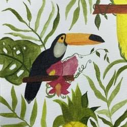 toucan painting , 8 x 10 inch, saru sridhar,8x10inch,canvas,wildlife paintings,nature paintings   scenery paintings,photorealism,animal paintings,paintings for living room,paintings for living room,acrylic color,GAL02115332957