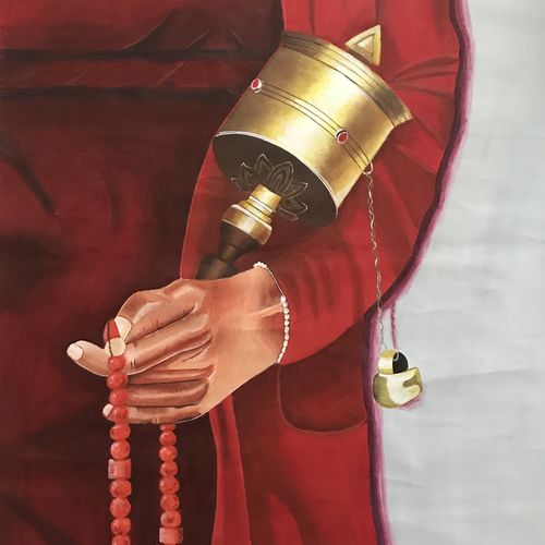 buddha with prayer wheel, 30 x 36 inch, kangana vohra,30x36inch,canvas,paintings,buddha paintings,figurative paintings,religious paintings,realism paintings,realistic paintings,paintings for dining room,paintings for living room,paintings for bedroom,paintings for office,paintings for hotel,paintings for school,paintings for hospital,acrylic color,GAL0725832960
