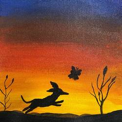 dog chasing butterfly, 9 x 12 inch, saru sridhar,9x12inch,canvas,wildlife paintings,animal paintings,dog painting,children paintings,paintings for dining room,paintings for living room,paintings for bedroom,paintings for kids room,paintings for dining room,paintings for living room,paintings for bedroom,paintings for kids room,acrylic color,GAL02115332963
