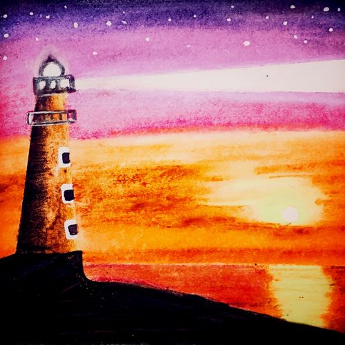 abstract lighthouse artwork , 25 x 35 inch, sarmistha nanda,25x35inch,drawing paper,paintings,abstract paintings,modern art paintings,paintings for dining room,paintings for living room,paintings for bedroom,paintings for office,paintings for bathroom,paintings for kids room,paintings for hotel,paintings for kitchen,paintings for school,paintings for hospital,pastel color,watercolor,paper,GAL02064632964