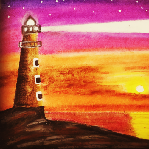 lighthouse artwork , 35 x 35 inch, sarmistha nanda,35x35inch,drawing paper,paintings,modern art paintings,expressionism paintings,illustration paintings,paintings for dining room,paintings for living room,paintings for bedroom,paintings for office,paintings for bathroom,paintings for kids room,paintings for hotel,paintings for kitchen,paintings for school,paintings for hospital,pastel color,pencil color,paper,GAL02064632966