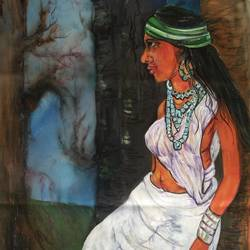 tribal woman, 15 x 28 inch, manoj kumar mishra,15x28inch,cloth,paintings,figurative paintings,portrait paintings,realistic paintings,paintings for living room,paintings for hotel,acrylic color,fabric,GAL02111932967