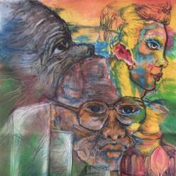 clash of beliefs, 11 x 16 inch, manoj kumar mishra,11x16inch,cloth,paintings,figurative paintings,portrait paintings,expressionism paintings,paintings for living room,paintings for office,paintings for school,paintings for hospital,acrylic color,fabric,GAL02111932968