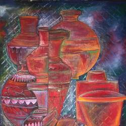 earthen pots, 18 x 24 inch, manoj kumar mishra,18x24inch,cloth,paintings,still life paintings,portrait paintings,paintings for dining room,paintings for hotel,paintings for kitchen,paintings for school,acrylic color,fabric,GAL02111932969
