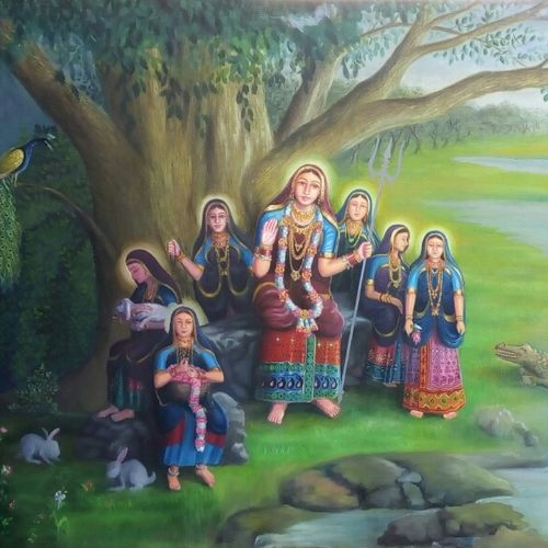 indian devi ma khodal, 72 x 48 inch, kalpesh prajapati,paintings for living room,figurative paintings,religious paintings,canvas,oil,72x48inch,GAL012373297