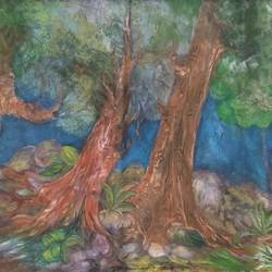 forest, 28 x 13 inch, manoj kumar mishra,28x13inch,cloth,paintings,landscape paintings,nature paintings | scenery paintings,paintings for living room,paintings for office,paintings for hotel,paintings for school,acrylic color,fabric,GAL02111932970