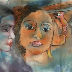 faces, 28 x 13 inch, manoj kumar mishra,28x13inch,cloth,paintings,figurative paintings,landscape paintings,paintings for living room,paintings for bedroom,paintings for office,paintings for hotel,acrylic color,fabric,GAL02111932971