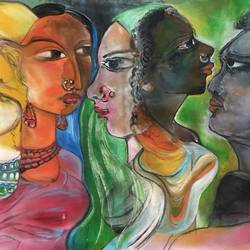 indian facrs, 28 x 13 inch, manoj kumar mishra,28x13inch,cloth,paintings,figurative paintings,landscape paintings,paintings for living room,paintings for bedroom,paintings for office,paintings for hotel,acrylic color,fabric,GAL02111932972