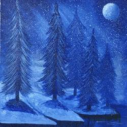snowy winter abdomen pine trees, 7 x 10 inch, lisa serene,7x10inch,canvas,paintings,landscape paintings,modern art paintings,nature paintings | scenery paintings,paintings for dining room,paintings for living room,paintings for bedroom,paintings for office,paintings for bathroom,paintings for kids room,paintings for hotel,paintings for kitchen,paintings for school,paintings for hospital,acrylic color,GAL01951232980