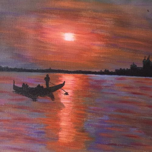 sunset on a river boat, 16 x 12 inch, lisa serene,16x12inch,canvas,paintings,cityscape paintings,landscape paintings,paintings for dining room,paintings for living room,paintings for bedroom,paintings for office,paintings for bathroom,paintings for kids room,paintings for hotel,paintings for kitchen,paintings for school,paintings for hospital,acrylic color,GAL01951232983