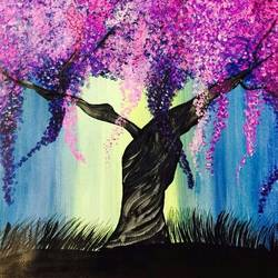 cherry blossom tree, 16 x 12 inch, lisa serene,16x12inch,canvas,paintings,flower paintings,nature paintings | scenery paintings,paintings for dining room,paintings for living room,paintings for bedroom,paintings for office,paintings for bathroom,paintings for kids room,paintings for hotel,paintings for kitchen,paintings for school,paintings for hospital,acrylic color,GAL01951232985