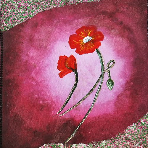 flower, 12 x 16 inch, khushbu soni,flower paintings,paintings for living room,canvas board,mixed media,12x16inch,GAL012263299