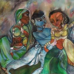 friends, 32 x 16 inch, manoj kumar mishra,32x16inch,cloth,paintings,figurative paintings,landscape paintings,paintings for living room,paintings for bedroom,paintings for hotel,acrylic color,fabric,GAL02111932990