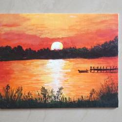 sun rise, 8 x 10 inch, vidhya gunasekaran,8x10inch,canvas,landscape paintings,nature paintings | scenery paintings,acrylic color,GAL02120732998