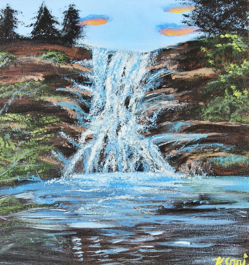 waterfall, 14 x 18 inch, khushbu soni,nature paintings,paintings for living room,canvas board,acrylic color,14x18inch,GAL012263300Nature,environment,Beauty,scenery,greenery,trees,water,beautiful,waterfall