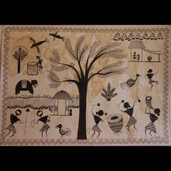 corona 2020- warli art, 17 x 12 inch, anchal gupta,17x12inch,ivory sheet,paintings,folk art paintings,conceptual paintings,paintings for dining room,paintings for living room,paintings for bedroom,paintings for office,paintings for bathroom,paintings for hotel,pen color,coffee,GAL02120933002