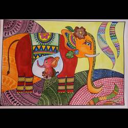 madhubani art- tribute to momma and baby elephant, 17 x 12 inch, anchal gupta,17x12inch,ivory sheet,paintings,folk art paintings,conceptual paintings,animal paintings,elephant paintings,baby paintings,madhubani paintings | madhubani art,paintings for dining room,paintings for living room,paintings for bedroom,paintings for office,paintings for hotel,paintings for kitchen,paintings for hospital,pen color,watercolor,GAL02120933003