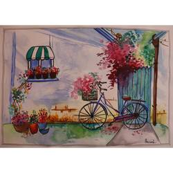 lockdown painting, 12 x 8 inch, anchal gupta,12x8inch,drawing paper,flower paintings,still life paintings,nature paintings | scenery paintings,art deco paintings,street art,paintings for dining room,paintings for living room,paintings for bedroom,paintings for office,paintings for hotel,paintings for dining room,paintings for living room,paintings for bedroom,paintings for office,paintings for hotel,pen color,watercolor,GAL02120933004