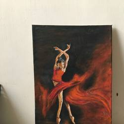 ballet dance acrylic painting, 9 x 16 inch, manisha pai,9x16inch,canvas,abstract expressionism paintings,acrylic color,GAL02120633005