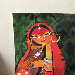 tribal lady , 11 x 15 inch, manisha pai,11x15inch,canvas,paintings,folk art paintings,acrylic color,GAL02120633007