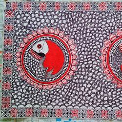 madhubani painting 'joda maach, 22 x 15 inch, nimisha kumari,22x15inch,thick paper,folk art paintings,landscape paintings,madhubani paintings | madhubani art,paintings for living room,paintings for bedroom,paintings for living room,paintings for bedroom,fabric,paper,GAL02122733008
