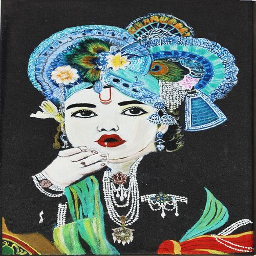 lord krishna, 12 x 18 inch, khushbu soni,religious paintings,paintings for living room,radha krishna paintings,canvas board,acrylic color,12x18inch,GAL012263301