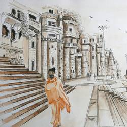 varanasi in pen and water colour, 12 x 9 inch, vishala prasad,12x9inch,canson paper,paintings,illustration paintings,paintings for dining room,paintings for living room,paintings for hotel,ink color,watercolor,GAL02123233012