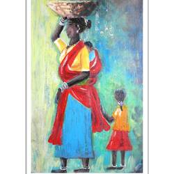 rural woman , 7 x 11 inch, vishala prasad,7x11inch,canvas,paintings,portrait paintings,paintings for dining room,paintings for living room,paintings for bedroom,paintings for hotel,acrylic color,GAL02123233014