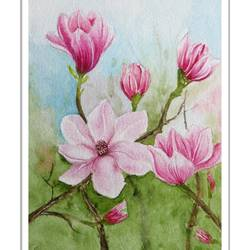 magnolia flower in water colour, 7 x 9 inch, vishala prasad,7x9inch,handmade paper,flower paintings,paintings for living room,paintings for bedroom,paintings for office,paintings for hotel,paintings for hospital,paintings for living room,paintings for bedroom,paintings for office,paintings for hotel,paintings for hospital,watercolor,GAL02123233015