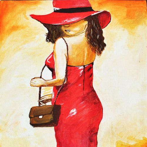 girl with hat, 12 x 16 inch, khushbu soni,portrait paintings,paintings for bedroom,canvas board,acrylic color,12x16inch,GAL012263302