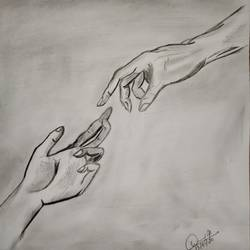 touch of hope, 11 x 11 inch, daisy pradeep,11x11inch,drawing paper,paintings for living room,conceptual drawings,paintings for living room,charcoal,graphite pencil,GAL02124433030