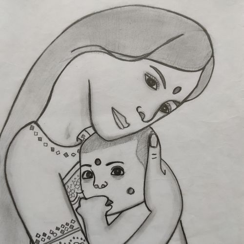 safe lock of a mother, 8 x 12 inch, sereena leemz,8x12inch,paper,drawings,figurative paintings,expressionism paintings,expressionism drawings,figurative drawings,fine art drawings,pencil color,GAL02124233035