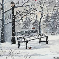winter scene, 10 x 12 inch, khushbu soni,nature paintings,paintings for living room,canvas board,acrylic color,10x12inch,GAL012263304Nature,environment,Beauty,scenery,greenery
