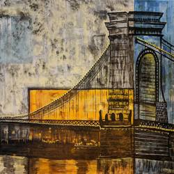 the bridge, 22 x 30 inch, paramita batabyal,22x30inch,canvas,paintings,abstract paintings,acrylic color,GAL01880133041