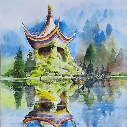 ivy temple-xian, china, 15 x 21 inch, vivek anand,15x21inch,canson paper,paintings,landscape paintings,watercolor,GAL0366033046