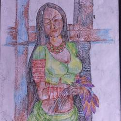 woman in waiting, 8 x 12 inch, manoj kumar mishra,8x12inch,paper,paintings,figurative paintings,portrait paintings,paintings for bedroom,paintings for bathroom,pastel color,paper,GAL02111933049